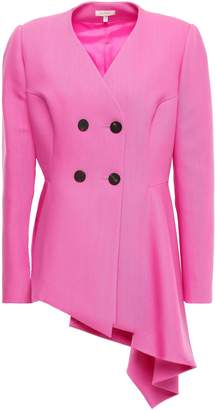 DELPOZO Double-breasted Asymmetric Wool And Silk-blend Peplum Jacket