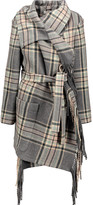 Chloé Fringed plaid wool-blend coat