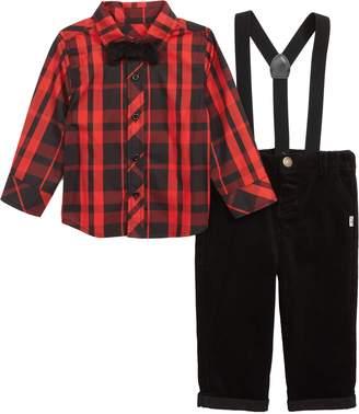 Plaid Shirt, Suspenders & Pants Set