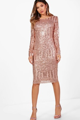 boohoo Boutique Sequin and Mesh Midi Dress