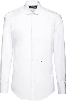 DSQUARED2 Slim Cotton Poplin Tuxedo Shirt