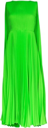 Valentino Pleated Caped Gown
