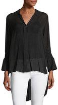 Halston Long Smocked-Sleeve Shirt