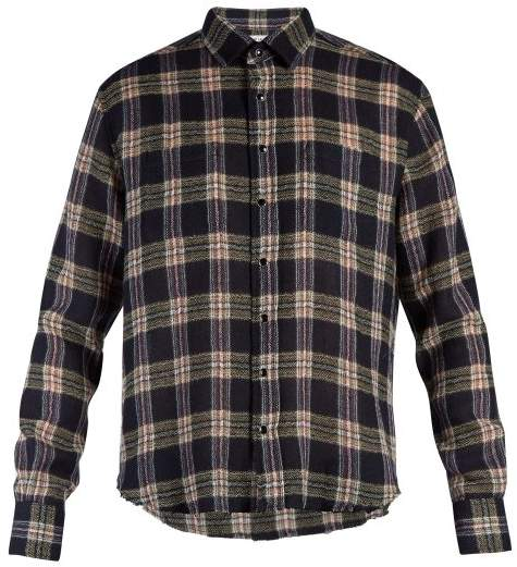 Saint Laurent Raw Edge Plaid Shirt - Mens - Blue