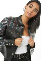 Forever 21 Faux Leather Plaid Print Jacket