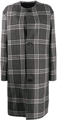 Marni check print single breasted coat