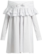 Isa Arfen Knot-front ruffled cotton-blend dress