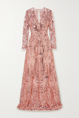 Naeem Khan Sequin-embellished Tulle Gown - Blush