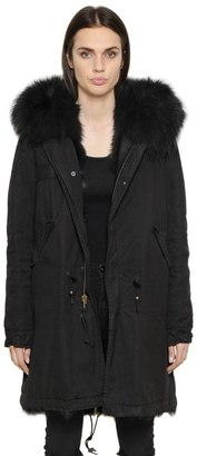 Mr & Mrs Italy Cotton Canvas Parka With Fox Fur