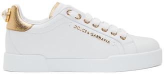 Dolce & Gabbana White and Gold Pearl Portofino Sneakers