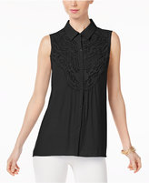 NY Collection Sleeveless Lace-Trim Blouse