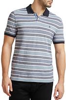 Original Penguin Birdseye Wide Stripe Slim Fit Polo Shirt, Dark Sapphire