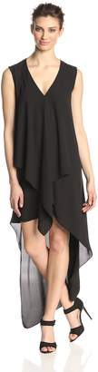 BCBGMAXAZRIA Women's Tara Tiered Asymmetrical Hem Dress