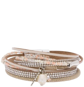 Saachi Sacramento Crystal, Bead, 9mm Freshwater Pearl Charm, & Leather Multi Layer Bracelet