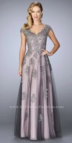 La Femme Cascading Floral Applique Two Tone Evening Dress