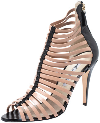 Brian Atwood Beige/Black Dolores Caged Strap Peep Toe Sandals Size 39.5