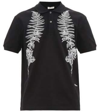 Alexander McQueen Fern-embroidered Cotton-pique Polo Shirt - Mens - Black