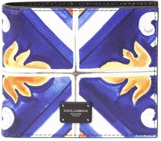 Dolce & Gabbana Leather Bifold Wallet With Maiolica Print