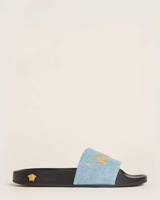 Versace Blue Logo Denim Slide Sandals