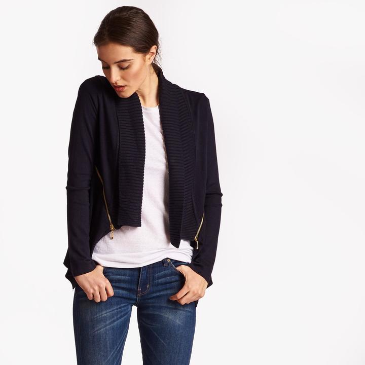 Joan Vass Women's Side-Zip Cardigan