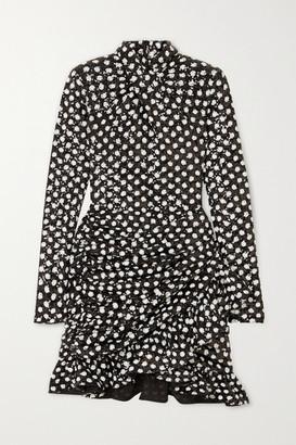 Richard Quinn Ruffled Ruched Sequined Cady Mini Dress - Black