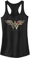 Licensed Character Juniors' DC Comics Wonder Woman Tropical Fill Logo Tank Top