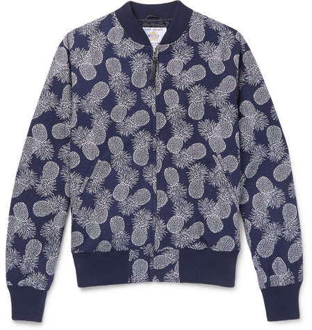 GoldenBear Golden Bear - Pineapple-Print Textured-Cotton Bomber Jacket - Men - Navy