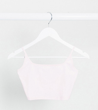 Asos DESIGN Petite crop cami with square neck and skinny straps in pink