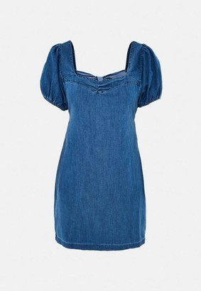 Missguided Blue Puff Sleeve Tie Back Denim Shift Dress