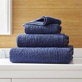 Crate & Barrel Ribbed Midnight Blue Bath Towels