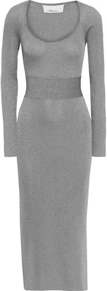 3.1 Phillip Lim Belted Metallic Ribbed-knit Midi Dress