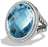 David Yurman DY Signature Oval Ring with Blue Topaz and Diamonds