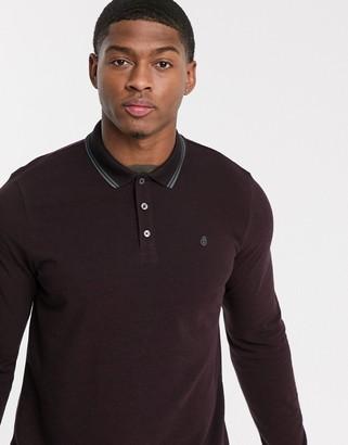 Burton Menswear long sleeve polo in burgundy-Red