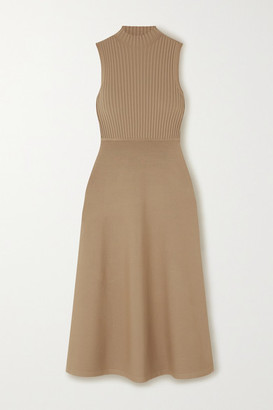 Theory Ribbed Stretch-knit Midi Dress - Beige