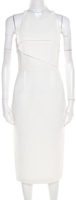 Roland Mouret White Waffle Textured Sleeveless Abersley Dress S