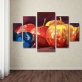 KitchenArt Ripe Plums & Apples 5-piece Canvas Wall Art Set