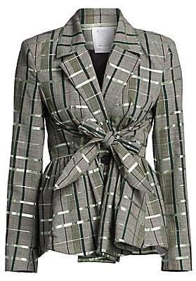 Rosie Assoulin Women's Plaid Tie-Front Peplum Wool-Blend Blazer