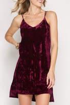 She + Sky Velvet Slip Dress