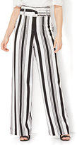 New York & Co. 7th Avenue Pant - Paperbag-Waist - Black & White Stripe