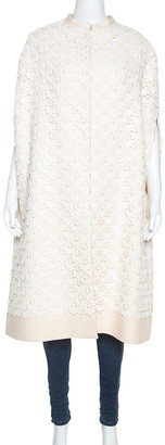 Valentino Cream and White Guipure Lace Cape Jacket M