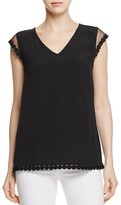 Daniel Rainn Mesh Shoulder V-Neck Top