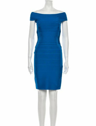 Herve Leger Marina Mini Dress Blue