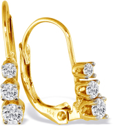 FireFacet 3/4 CT TW Diamond 14K Yellow Gold Graduated 3-Stone Drop Earrings
