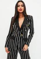 Missguided Black Military Striped Blazer, Black