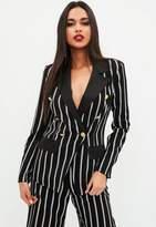Missguided Black Military Striped Blazer