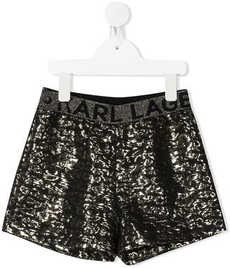 Karl Lagerfeld Paris Metallic-Effect Shorts