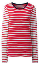 Lands' End Women's Petite Shaped Cotton Crewneck T-shirt-Fresh Sky/Ivory Stripe