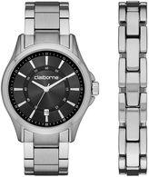 Claiborne Mens Silver-Tone Watch and Bracelet Set