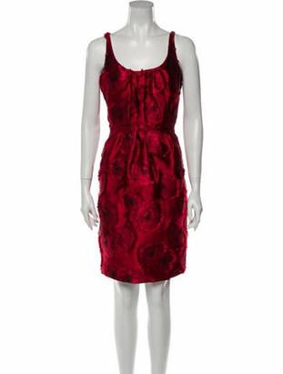 Oscar de la Renta Printed Knee-Length Dress Red