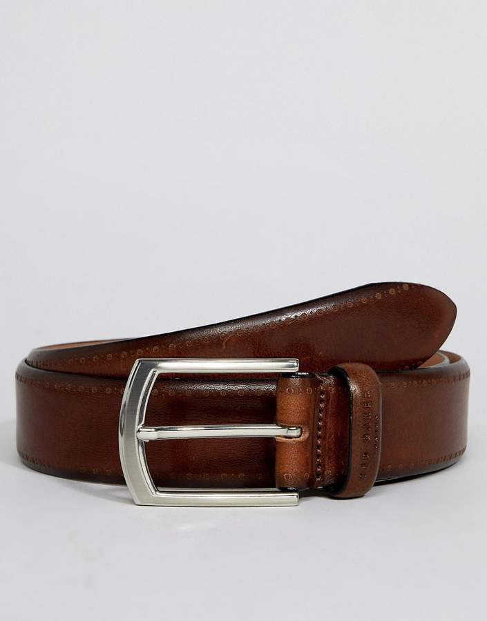Ted Baker Lillies brogue belt in burnished leather